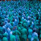 Naked volunteers, painted in blue to reflect the colours found in Marine paintings in Hull's Ferens Art Gallery, participate in US artist, Spencer Tunick's