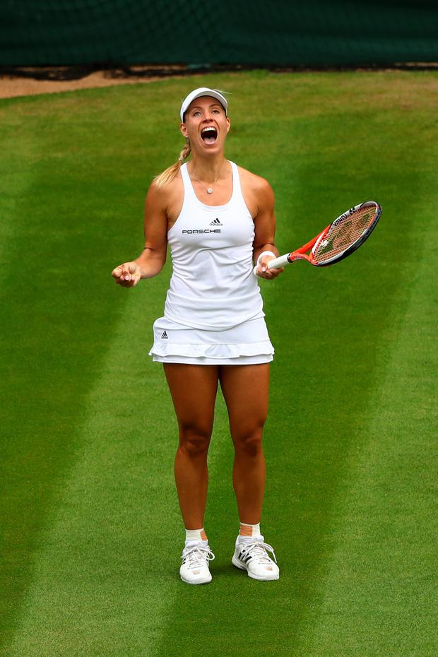 Angelique Kerber of Germany reacts during the Ladies Singles Final against Serena Williams of The United States on day twelve of the Wimbledon Lawn Tennis Championships at the All England Lawn Tennis and Croquet Club on July 9, 2016 in London, England. (Photo by Julian Finney/Getty Images)