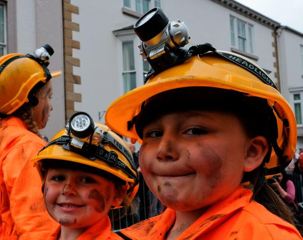 Youngsters dressed as miners march during the 132nd Durham Miners Gala on July 9, 2016 in Durham, England. (Photo by Ian Forsyth/Getty Images)