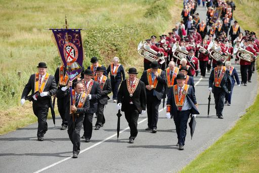 Press Eye - Belfast - Northern Ireland - 9th July 2016 - Marchers take part in the annual Rossnowlagh orange parade in County Donegal, Republic of Ireland ahead of the main demonstrations in Northern Ireland. The Twelfth in Donegal has been held in Rossnowlagh since the 1900s and has taken place there every year since 1978. Approximately 50 lodges from the border counties of Donegal, Cavan, Leitrim and Monaghan, as well as visiting Orangemen from Dublin and Wicklow, Northern Ireland and further afield, took part in the main parade.   Photo by Kelvin Boyes / Press Eye.