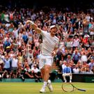 Andy Murray celebrates beating Milos Raonic in the men's singles final on day thirteen of the Wimbledon Championships at the All England Lawn Tennis and Croquet Club, Wimbledon. PRESS ASSOCIATION Photo. Picture date: Sunday July 10, 2016. See PA story TENNIS Wimbledon. Photo credit should read: Adam Davy/PA Wire. RESTRICTIONS: Editorial use only. No commercial use without prior written consent of the AELTC. Still image use only - no moving images to emulate broadcast. No superimposing or removal of sponsor/ad logos. Call +44 (0)1158 447447 for further information.