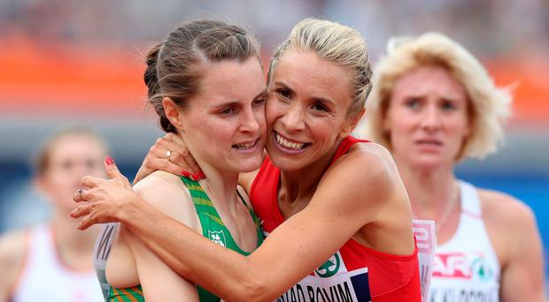 Tracking progress: Ciara Mageean (left) is congratulated by Norway's Ingvill Makestad Bovim after finishing third in the Women's 1,500m final in the European Athletics Championships in Amsterdam