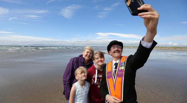 Marchers take part in the annual Rossnowlagh Orange Parade in Donegal