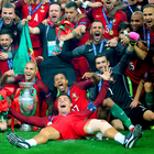 Prize guys: Cristiano Ronaldo leads Portugal's celebrations
