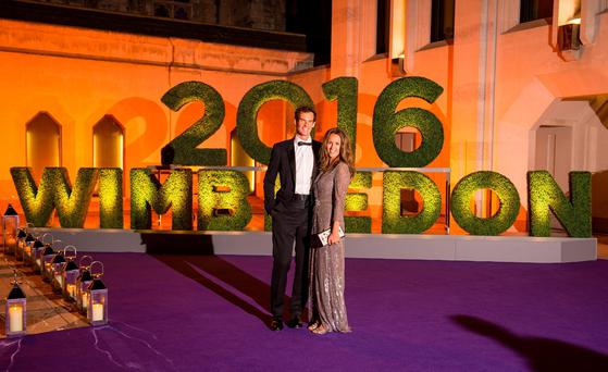 Andy Murray and his wife Kim arriving at the Wimbledon Champions Dinner 2016, at the Guildhall, London. Pic: Dominic Lipinski/PA Wire