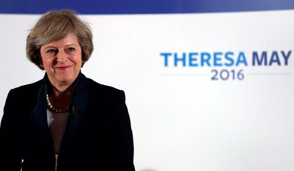 Home Secretary Theresa May officially launches her campaign to become prime minister at Austin Court in Birmingham. PA