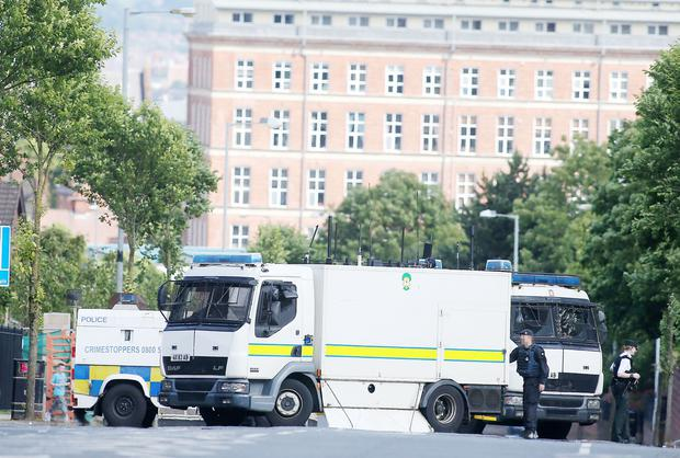 The scene at a security alert in the Brompton Park area of the Crumlin Road in north Belfast. Picture by Jonathan Porter/PressEye