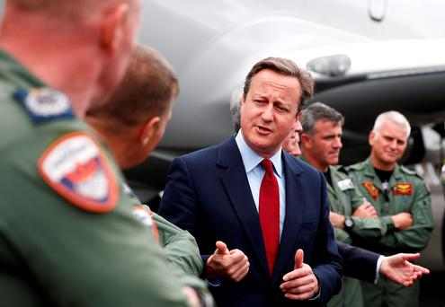 David Cameron at the Farnborough International Airshow yesterday