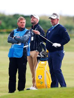 Gearing up: Darren Clarke gets to grips with Royal Troon ahead of his bid for Open glory