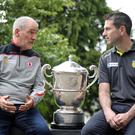 Up for the Cup: Tyrone boss Mickey Harte and Donegal counterpart Rory Gallagher have a chat while up close and personal with the Ulster crown