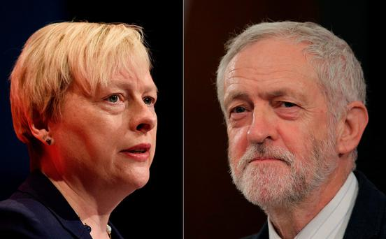 Opposition Labour Party MP Angela Eagle (L) and leader of the Labour party Jeremy Corbyn