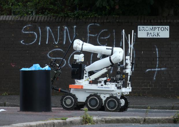 Scene of the alert on the Crumlin Road in north Belfast yesterday