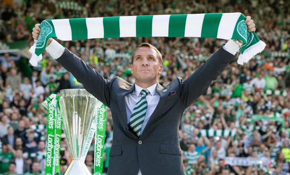 Celtic unveil their new Manager, Brendan Rodgers at Celtic Park Glasgow on May 23, 2016 in Glasgow, Scotland. (Photo by Steve Welsh/Getty Images)