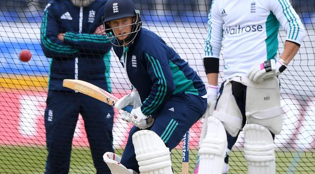 Net gains: Joe Root has moved up to No.3 in the batting order for England's first Test against Pakistan at Lord's