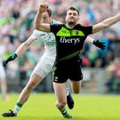 Going down: Mayo ace Aidan O'Shea takes a tumble despite receiving minimal contact