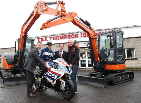 Dundrod here we come: Grand Prix bound TT legend Ian Hutchinson, second left, with backer from TBF Thompson, directors Alan Espie and Seamus Doherty and UGP's Noel Johnston