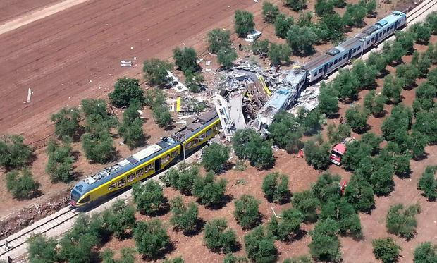 The scene from the air of the train crash between Ruvo and Corato, in the southern Italian region of Puglia