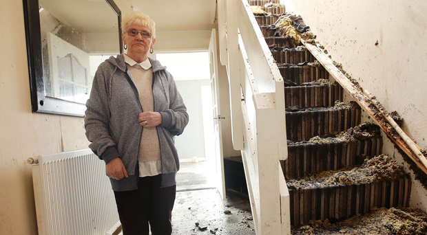 Lily Turtle at her Hopewell Square home, which was badly damaged by Monday night's bonfire