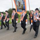 Cllr Walter Cuddy (centre) and fellow brethren in Coagh