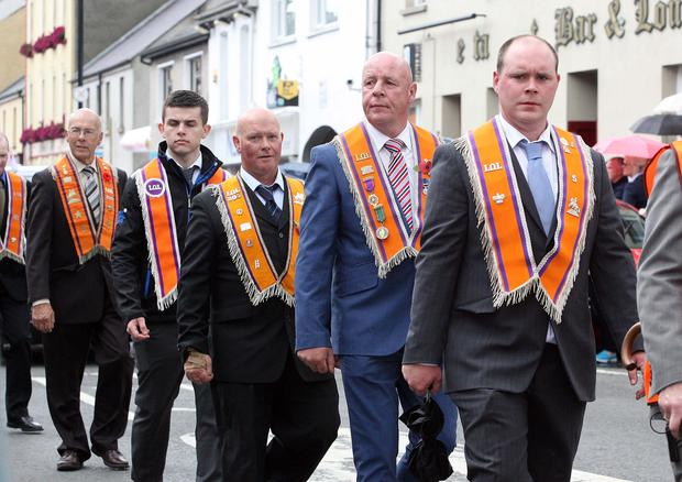 Over 5,000 participants were expected to take part in the Twelfth demonstration in Newtownstewart, which is hosting the annual festival for the first time since 2010. Members of Newtownsteart District LOL. Pic Freddie Parkinson