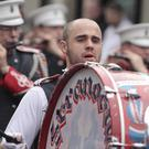 Beating the big drum for Stranocum Flute Band. Picture: MARK JAMIESON.