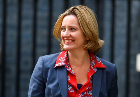 Amber Rudd, leaves 10 Downing Street, central London, after being appointed as Home Secretary following a Cabinet reshuffle by new Prime Minister Theresa May. PA