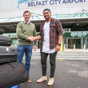 All set: Charles Piutau, pictured with Ulster Rugby's Bryn Cunningham will make his debut against Dragons