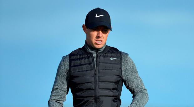 Positively Open: Rory McIlroy during his final practice round at Royal Troon before he attempts to repeat his victory at Hoylake in 2014