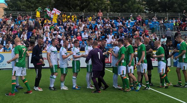 Friendly rivaly: Northern Ireland and Republic of Ireland teams prepare to clash at the Homeless World Cup yesterday