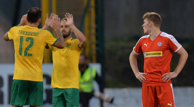 Comeback kings: AEK Larnaca's Ivan Trickovski gets on the scoresheet at Solitude last night