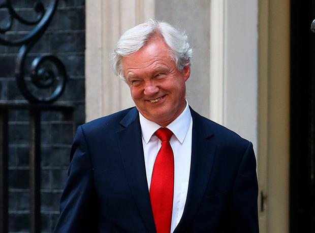 David Davis, Secretary of State for Brexit, leaves 10 Downing Street, central London, as new Prime Minister Theresa May begins a Cabinet reshuffle. PA
