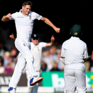 Man of the moment: Chris Woakes took a five-for before digging in with the bat to finish the day