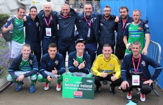 Heroes: The Northern Ireland team soak up the atmosphere at the Homeless World Cup