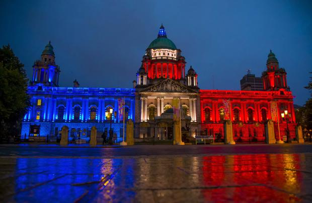 Belfast City Hall is illuminated in the colours of the French flag, as a mark of solidarity with the French people after a lorry drove into a crowd. ( Photo by Kevin Scott / Presseye)