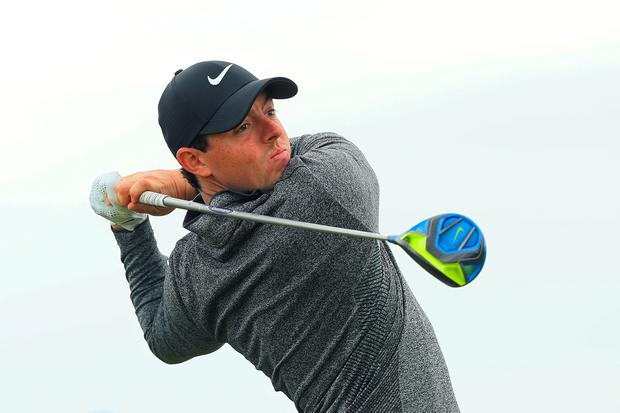 Rory McIlroy of Northern Ireland tees off on the 16th hole during the final round on day four of the 145th Open Championship at Royal Troon on July 17, 2016 in Troon, Scotland. (Photo by Andrew Redington/Getty Images)
