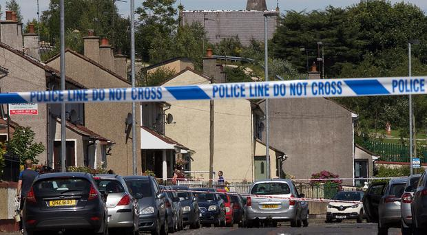 The police cordon at Lone Moor Road, Derry after a child was knocked down by a car. Photo by Tom Heaney.