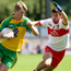 Edged it: Donegal's Odhran Shiels and Derry's Gearoid McLaughlin in action
