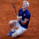 On the rise: Kyle Edmund showed his quality to step in for Andy Murray and lead GB into the Davis Cup semi-finals