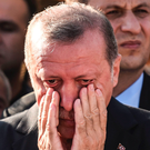 Turkey's President Recep Tayyip Erdogan attends the funeral of his campaign manager