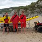 RNLI lifeguards Bosco McAuley, Ali Boyd and Stephen Parish Pic: RLNI