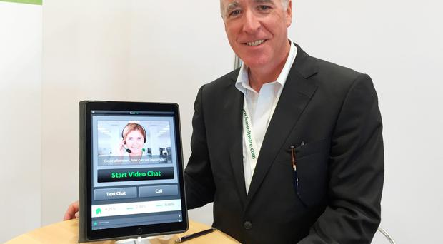 Gene Pranger, CEO of Financial Town, at Waterfront Hall Belfast, as filling out a mortgage application with your banker over the internet from the coffee shop could soon become reality with developments in mobile video calling, a technology start-up said. PA
