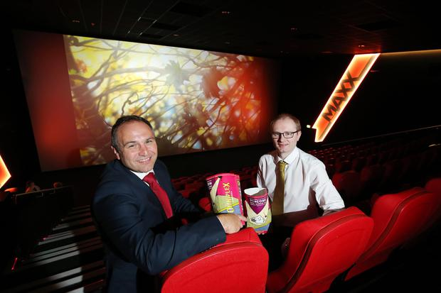 Chris Nelmes (left), centre manager at The Outlet, joined Simon Smyth, general manager of Omniplex Banbridge, to celebrate the cinema's opening at the shopping complex outside Banbridge