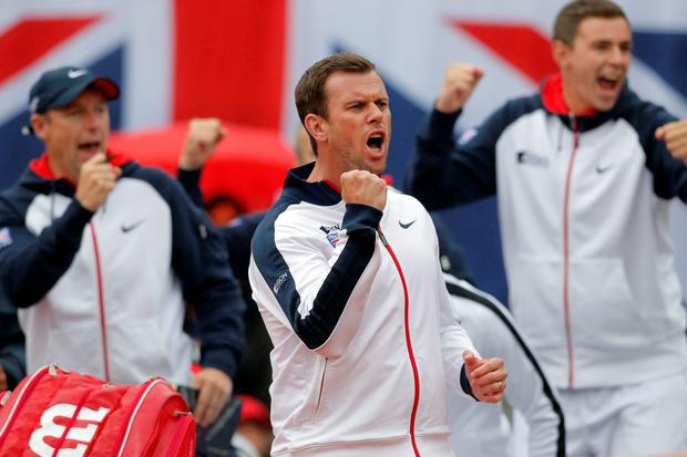 Clear aim: Leon Smith celebrates Britain's win in Belgrade and is targeting back-to-back Davis Cup triumphs