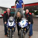 Hitting the heights: Racer Dan Kneen helps launch a new sponsorship with the MCE Insurance Ulster Grand Prix and Whitemountain Centra Service Station, who are backing Supersport race one at the event next month. Pictured are (l-r): Noel Johnston, Clerk of the Course at the MCE Ulster Grand Prix, Dan Kneen, Danielle Finlay and Sam Finlay, Whitemountain Centra Service Station
