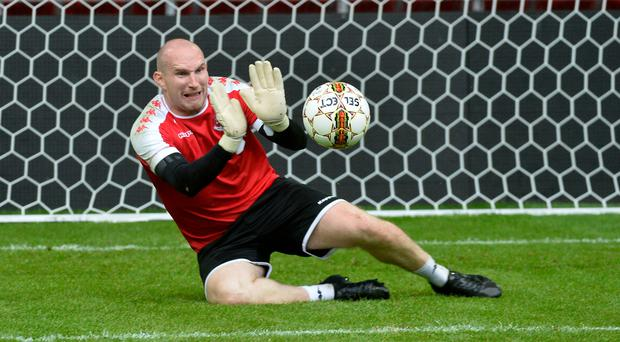 Keeping the faith: Sean O'Neill trains at the Parken Stadium in Copenhagen ahead of tonight's Champions League qualifier