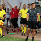 Looking glum: Brendan Rodgers reacts after the final whistle of Celtic's 1-0 defeat against Lincoln Red Imps in Gibraltar