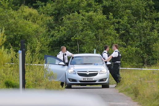 The scene of a collision at the Springbank pond in the Colin Glen Forest park in which a woman has been struck by a motorbike. July 19 2016 ( Photo by Kevin Scott / Presseye )