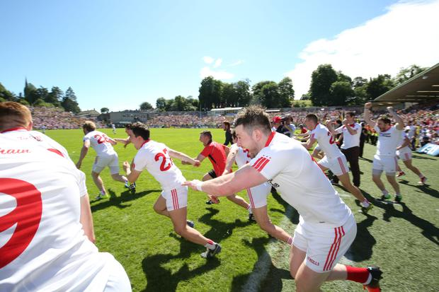 Plenty more to come: the Tyrone squad celebrate as the final whistle confirms victory over Donegal on Sunday in the Ulster Final in Clones