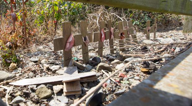 Damage to the memorial to soldiers who died during the Narrow Water massacre