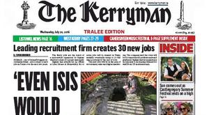 Wednesday's front page of The Kerryman.